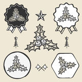 Christmas holly berry  symbol emblem label Royalty Free Stock Photography