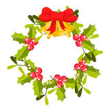 Christmas holly berry wreath vector icon. Royalty Free Stock Images