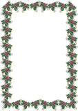 Christmas holly border 1. Christmas border with holly berries on white background Royalty Free Stock Photos
