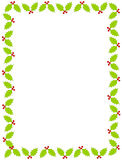 Christmas holly border. Beautiful christmas border / frame with holly and berries Stock Photo