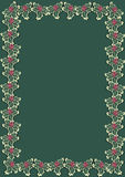 Christmas holly border 3. Christmas border with holly berries on green background Royalty Free Stock Images