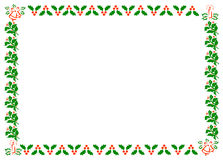 Christmas Holly Border. A4 Border made up of Holly leaves and berries, candles and bells Stock Photo