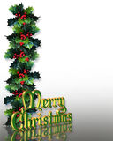 Christmas Holly Border 3D text. Image and Illustration composition for Christmas holiday card, background or border with holly, 3D text and copy space Stock Images