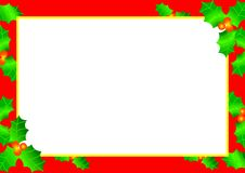 Christmas Holly Border. Illustration of christmas holly berries and leaves stock illustration