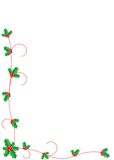 Christmas holly border. Christmas holly with berries and red lines decoration on border Royalty Free Stock Photo