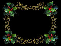 Christmas Holly Border on black. Image and illustration composition for Christmas holiday card, border, background or template Stock Image