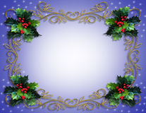 Christmas Holly Border on Blue. Image and illustration composition for Christmas holiday card, border, background or template Royalty Free Stock Photography