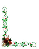 Christmas Holly Border corner design. Illustrated Background, border or frame for Christmas holiday with holly corner design. ornament and copy space Stock Images