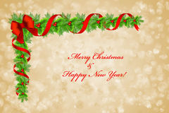 Christmas holly border decoration over bokeh background, greeting card Stock Image