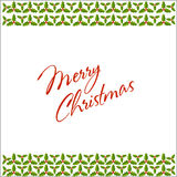 Christmas holly border and frame postcard Stock Image