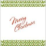Christmas holly border and frame postcard. Christmas holly border and frame celebration postcard Stock Image