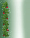 Christmas Holly border illustration. Illustration composition Christmas design with holly leaves for background, border or frame on green satin with copy space Royalty Free Stock Images