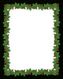 Christmas Holly border illustration. Illustration composition Christmas design with holly leaves for background, photo card border or frame with copy space Stock Images