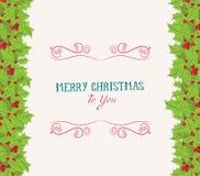 Christmas holly border Royalty Free Stock Photos