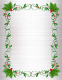 Christmas Holly Border ornamental. Christmas design element for greeting card border, Holiday invitation frame or ornamental border with decorative holly with Royalty Free Stock Photos