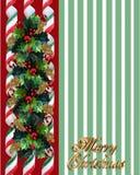 Christmas Holly Border over green stripes Stock Photos