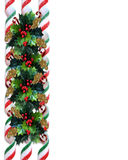 Christmas Holly Border with ribbon candy Stock Images