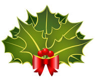 Christmas holly with bow Royalty Free Stock Photo