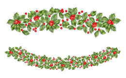 Christmas holly branch border. EPS 10 vector Stock Image