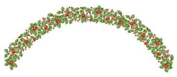 Christmas holly branch border. EPS 10 vector Royalty Free Stock Photos