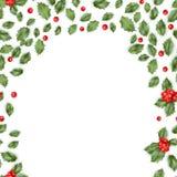 Christmas holly branch border. EPS 10 vector Stock Photos