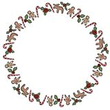 Christmas holly and candies ornamental wreath isolated on white background stock illustration
