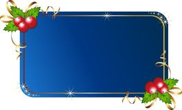 Christmas holly with card. Vector illustration of christmas card with holly Stock Photography
