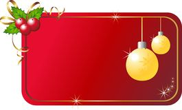 Christmas holly with card. Vector illustration of christmas card with holly Stock Photo