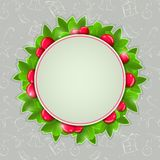 Christmas Holly Card with Round Place for Text Stock Images