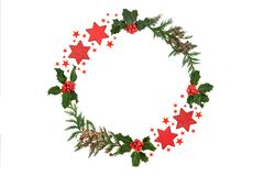 Christmas Holly and Cedar Wreath with Red Stars