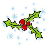 Christmas Holly Clip Art. A simplistic clip art illustration of Christmas Holly in red and green set upon snowflake background Stock Photo