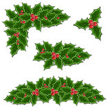 Christmas holly decoration set Stock Photography