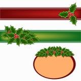 Christmas holly decoration set. Christmas holly decoration ribbon set illustration Stock Image