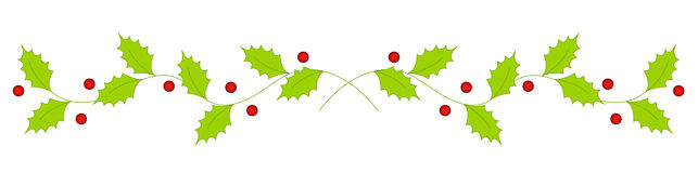Christmas holly divider / border Stock Image