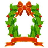Christmas holly fir garland on white background. Christmas holly and fir garland with red decorative ribbons bow on white background. Vector illustration Royalty Free Stock Image