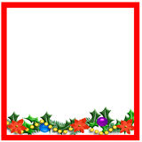 Christmas holly frame Stock Photos