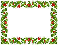 Christmas Holly frame Stock Images