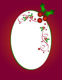 Christmas holly frame. On red background Royalty Free Stock Images