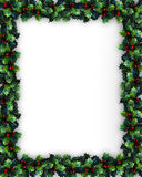 Christmas Holly Frame. Christmas design with holly leaves for background border or frame Stock Images