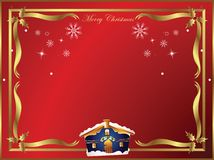 Christmas holly frame. With house stock illustration