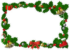 Christmas holly frame with decor,  3D illustration. 3D Rendered Happy Christmas frame Royalty Free Stock Photography