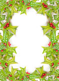 Christmas holly frame isolated Stock Photo