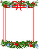 Christmas holly frame. Christmas holly red bow and ornaments frame illustration Stock Images