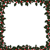 Christmas Holly Frame on White Stock Photos