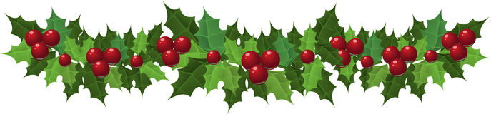 Christmas holly garland Royalty Free Stock Image