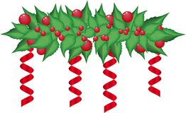 Christmas holly garland vector Stock Photos