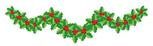 Christmas holly garland for your design Royalty Free Stock Images