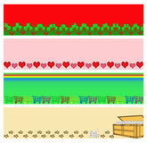 Trim or Border Set. Christmas with holly, hearts, shopping carts, and treasure chest of doggy bones trim or border set Royalty Free Stock Image