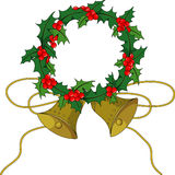 Christmas holly holly. Holly, gold bell, christmas bell, christmas holly, christmas Royalty Free Stock Photography