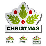 Christmas holly leaf stickers Royalty Free Stock Images